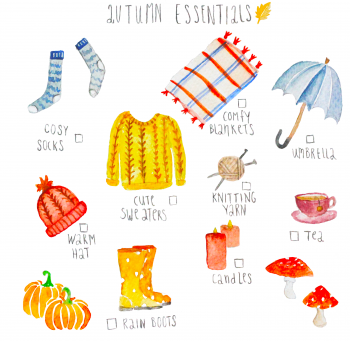 Autumn essentials illustration